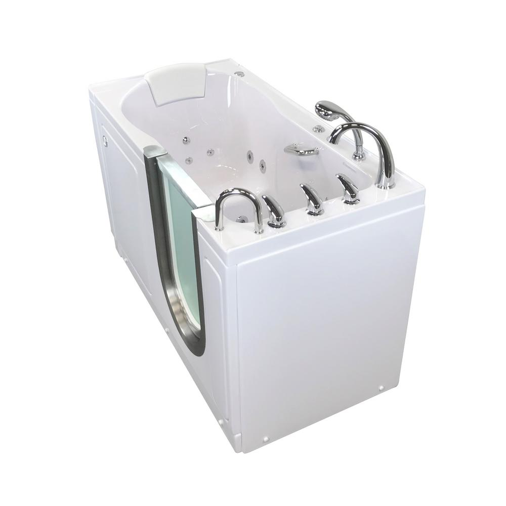 Ella Deluxe 55 in. Acrylic Walk-In Whirlpool and Micro Bubble Bathtub in White, Fast Fill Faucet, Heated Seat, RHS Dual Drain