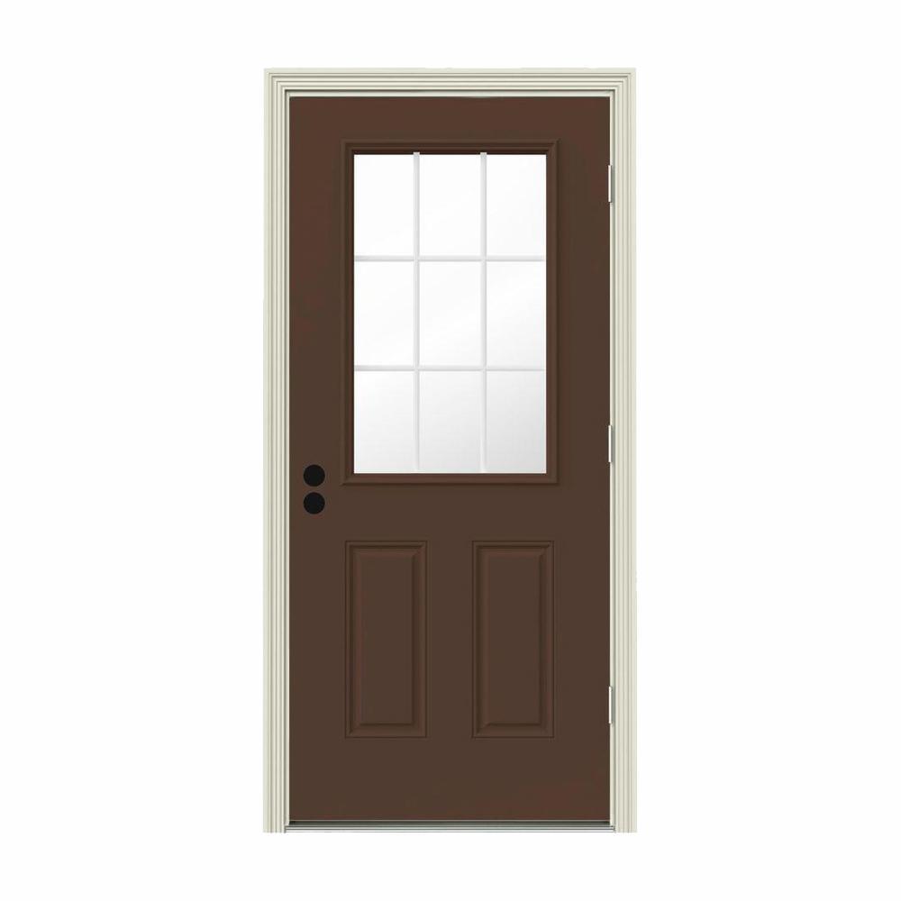 JELD-WEN 30 in. x 80 in. 9 Lite Dark Chocolate Painted Steel Prehung Left-Hand Outswing Front Door w/Brickmould