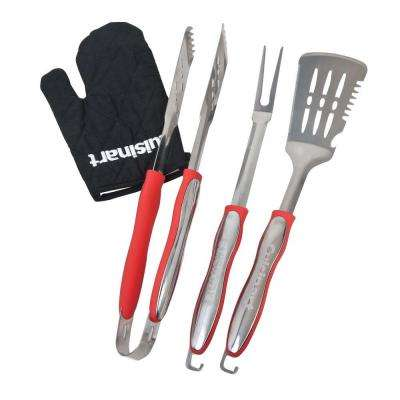 3-Piece Red Grill Set with Grill Glove