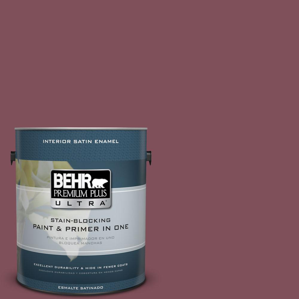 BEHR Premium Plus Ultra Home Decorators Collection 1-gal. #HDC-CL-02 Fine Burgundy Satin Enamel Interior Paint