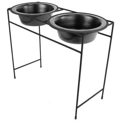 10 Cup Modern Double Diner Feeder with Dog Bowls, Silver Vein