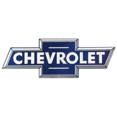 Chevrolet Blue Embossed Tin Decorative Sign