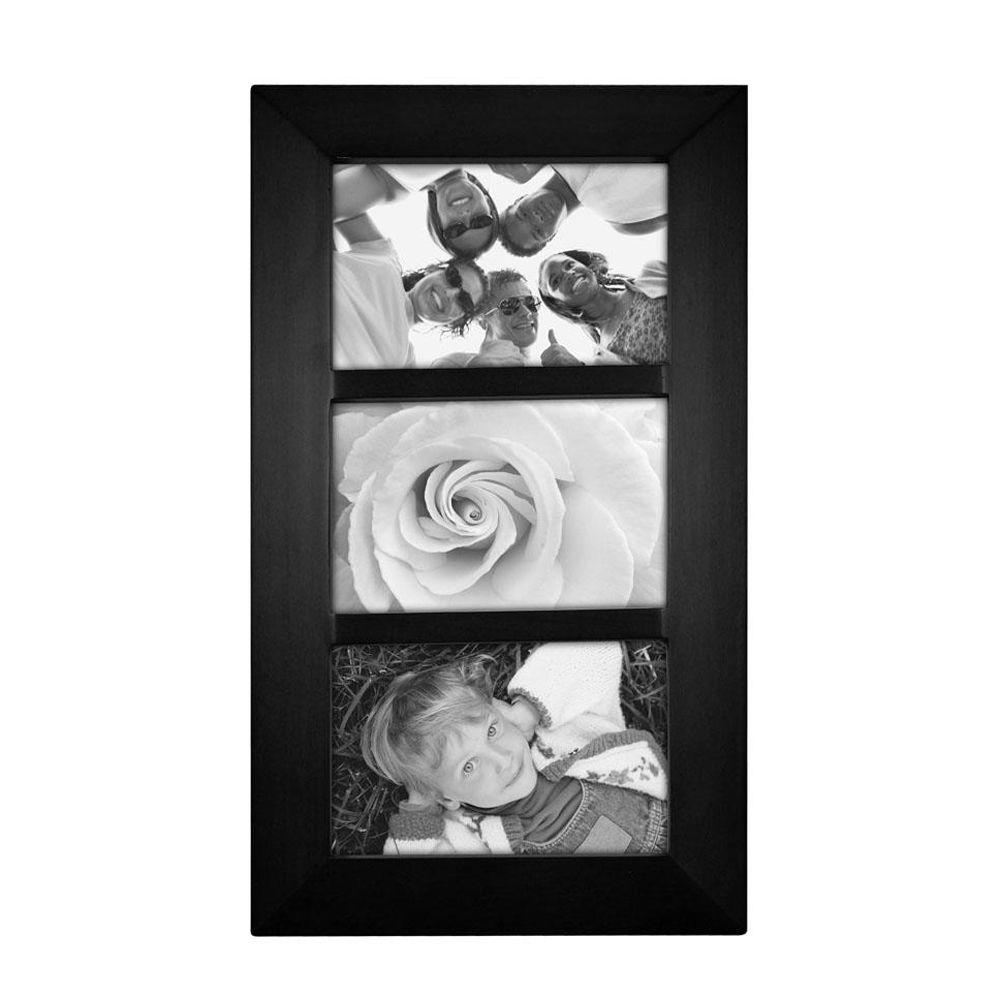 Home Decorators Collection 15 in. H x 8 in. W Berkeley Black 3 Opening Collage Picture Frame