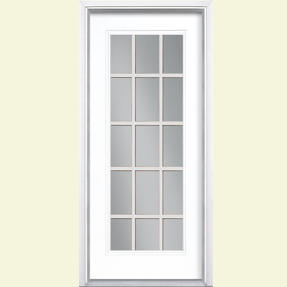 Masonite 32 in. x 80 in. 15 Lite Right-Hand Insiwng Painted Steel Prehung Front Door with Brickmold