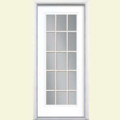 32 in. x 80 in. 15 Lite Right-Hand Insiwng Painted Steel Prehung Front Door with Brickmold