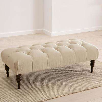 Velvet Pearl Tufted Bench