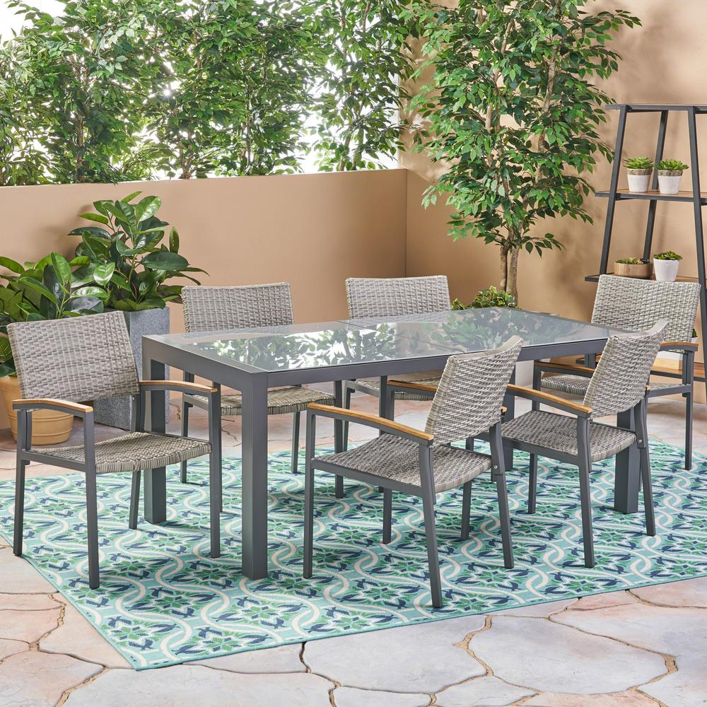Noble House Luton Grey 7-Piece Aluminum And Wicker Outdoor