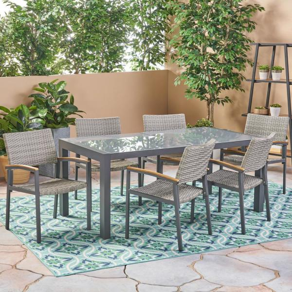 Noble House Luton Grey 7 Piece Aluminum And Wicker Outdoor Dining Set With Glass Table Top 53233 The Home Depot