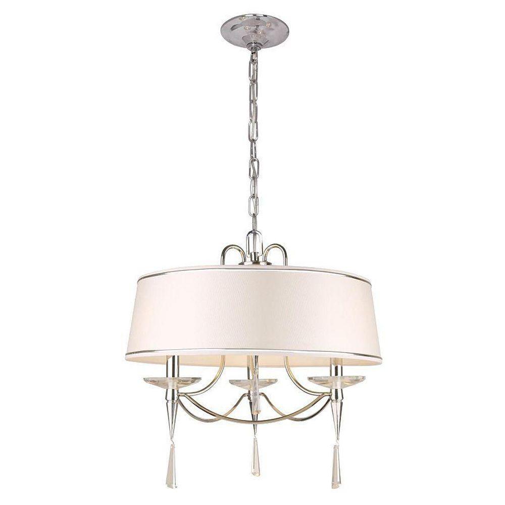 Hampton Bay 3 Light White Ceiling Drum Pendant 07276 1