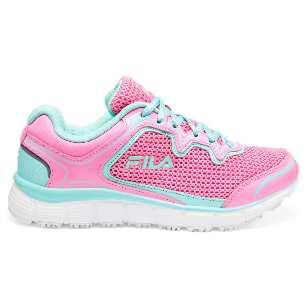 Fila Women's Memory Fresh Start Slip Resistant Athletic Shoes Soft Toe Sugar PlumAruba Blue Size 9.5(M)