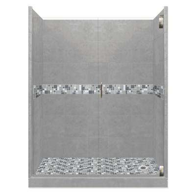 Newport Grand Hinged 42 in. x 60 in. x 80 in. Right Drain Alcove Shower Kit in Wet Cement and Satin Nickel Hardware