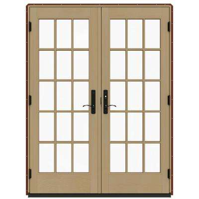 60 in. x 80 in. W-4500 Red Clad Wood Left-Hand 15 Lite French Patio Door w/Unfinished Interior