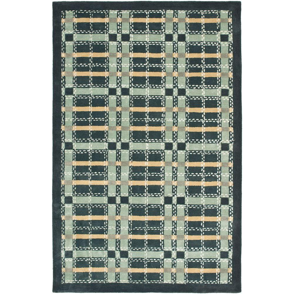 Martha Stewart Colorweave Plaid Wrought Iron Navy 4 ft. x 6