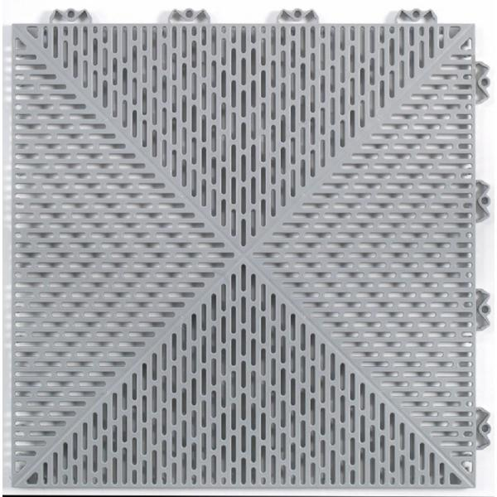 Unique 14.9 in. x 14.9 in. Gray Polypropylene Garage Floor Tile (21.6 sq. ft. / case)
