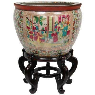 Oriental Furniture 14 in. Rose Medallion Porcelain Fishbowl