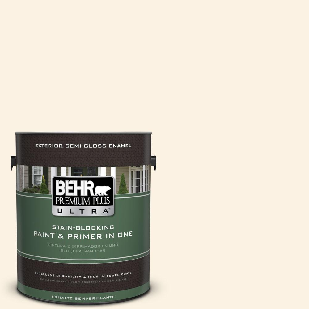 BEHR Premium Plus Ultra 1-gal. #pwn-31 Candlelight Ivory Semi-Gloss Enamel Exterior Paint
