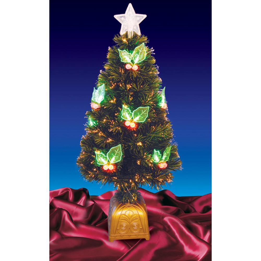 pre lit with led holly berries fiber optic artificial christmas tree