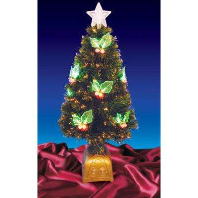 3 ft. Pre-Lit with LED Holly Berries Fiber Optic Artificial Christmas Tree