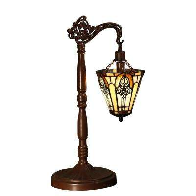 Neriah 21 in. Bronze Indoor Table Lamp with Tiffany-Style Shade