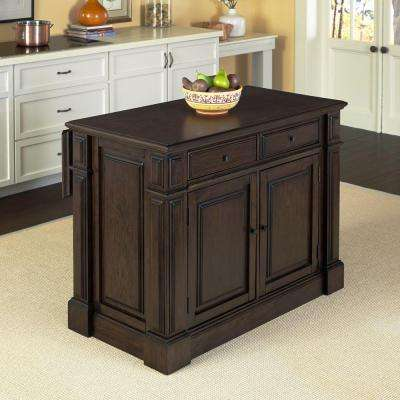 Prairie Home Black Oak Kitchen Island With Storage