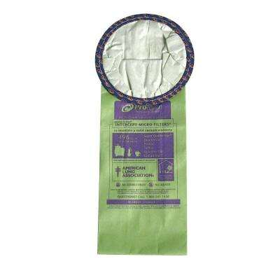 6 Qt. Intercept Micro Filter Bag, Open Collar. Fits for Round ProTeam Backpack Vacuums (10-Pack)