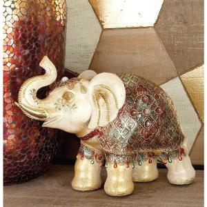 10 inch Polystone Standing Elephant with Blanket, Headdress, and Jewels Sculpture by