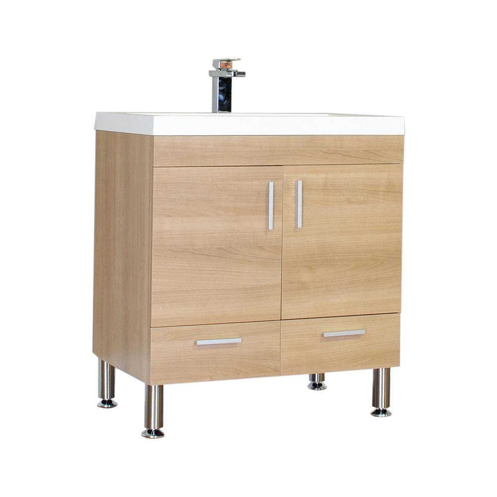 The Modern 29.375 in. W x 18.75 in. D Bath Vanity in Light Oak with Acrylic Vanity Top in White with White Basin