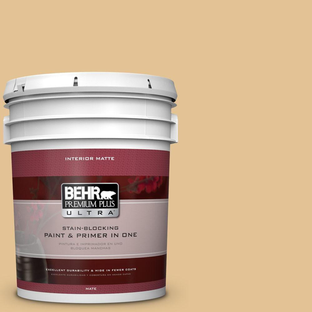 BEHR Premium Plus Ultra 5 gal. #310E-3 Ripe Wheat Flat/Matte Interior Paint