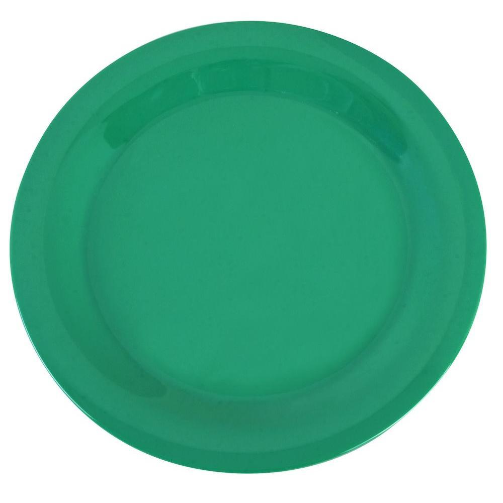 9 in. Diameter Wide Rim Melamine Dinner Plate in Meadow Green (Case of 24)