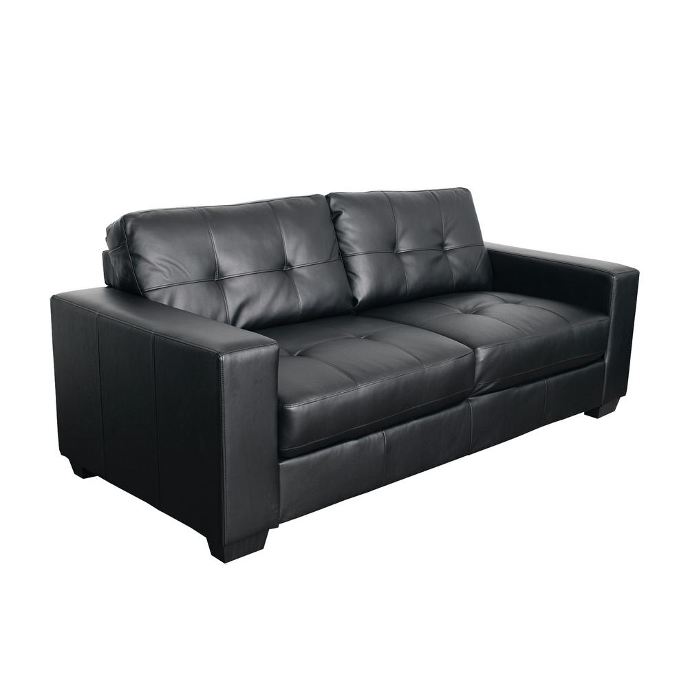 Club Tufted Black Bonded Leather Sofa