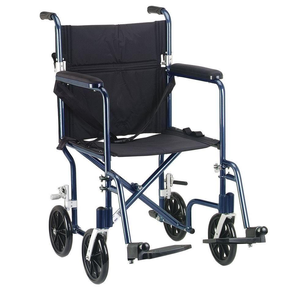 Drive 19 in. Flyweight Lightweight Transport Wheelchair with Blue Frame and Black Chair