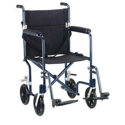 19 in. Flyweight Lightweight Transport Wheelchair with Blue Frame and Black Chair