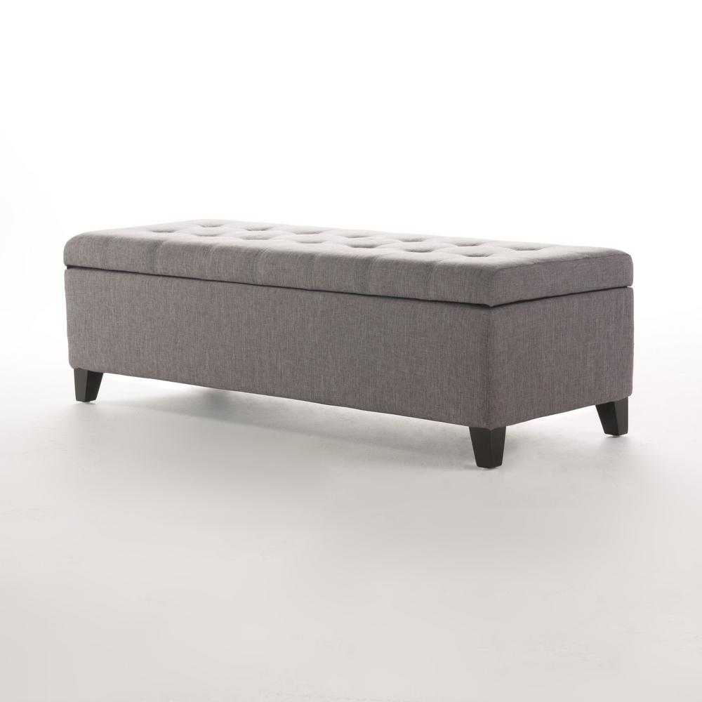 Mission Grey Storage Fabric Ottoman Bench