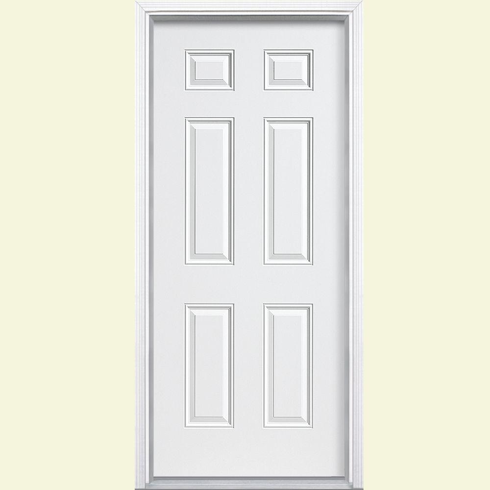36 in. x 80 in. 6-Panel Left Hand Inswing Primed White Steel Prehung Front Door with Vinyl Frame