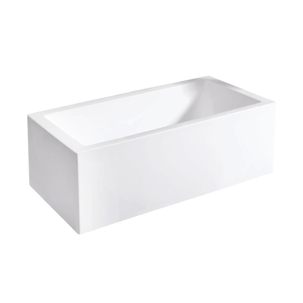 Aquatica PureScape 323A 5.58 ft. Acrylic Reversible Drain Rectangle Bathtub in White