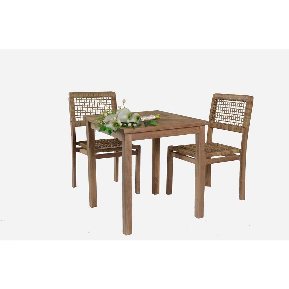 Sunjoy sophia 3 piece teak wood outdoor bistro set