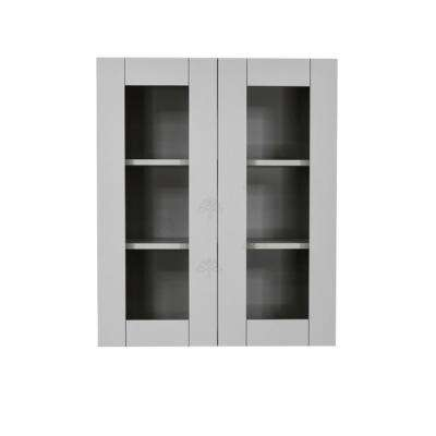 Anchester Assembled 24x36x12 in. Wall Mullion Door Cabinet with 2 Doors 2 Shelves in Light Gray