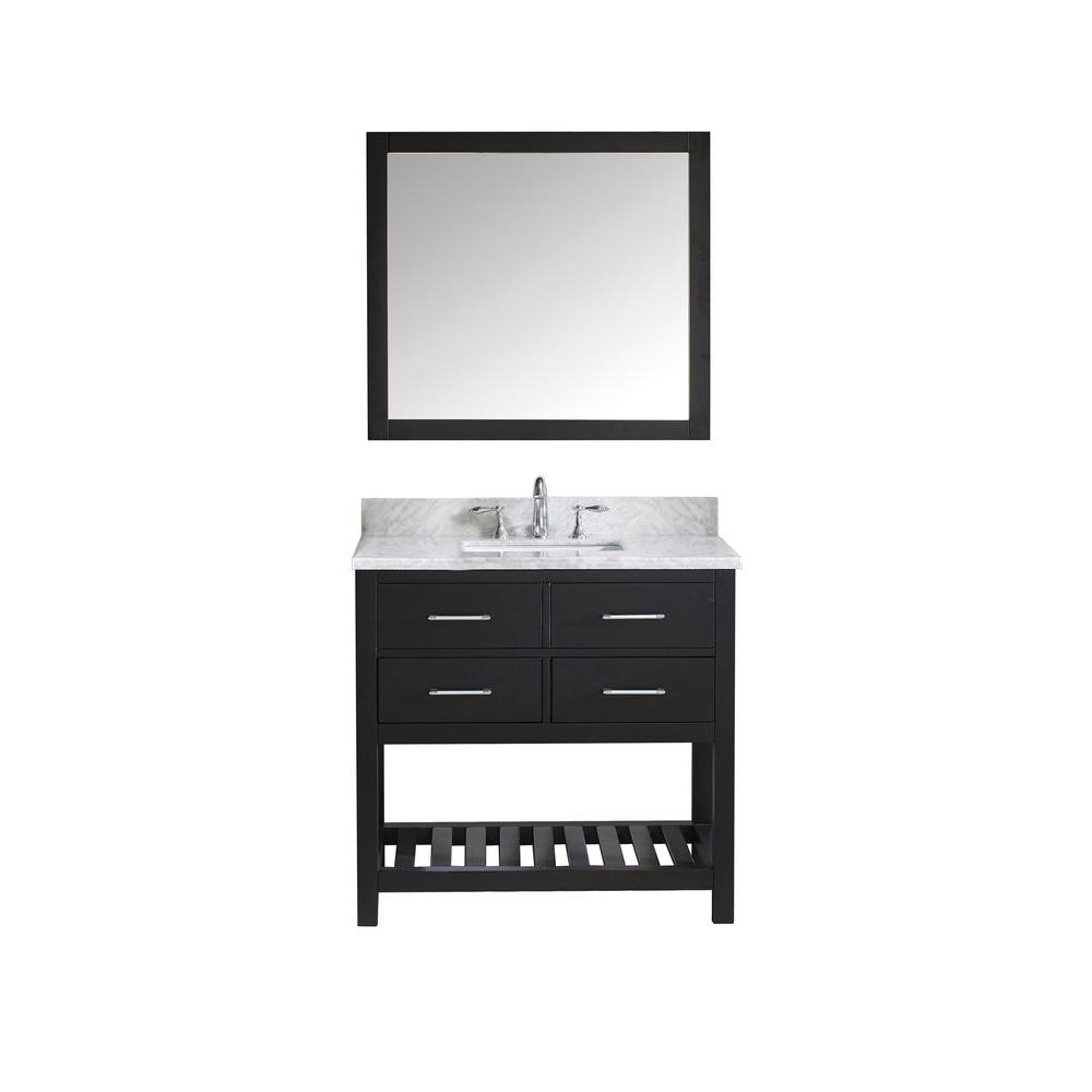 Virtu USA Caroline Estate 36 in. W x 36 in. H Vanity with Marble Vanity Top in Carrara White with White Basin and Mirror