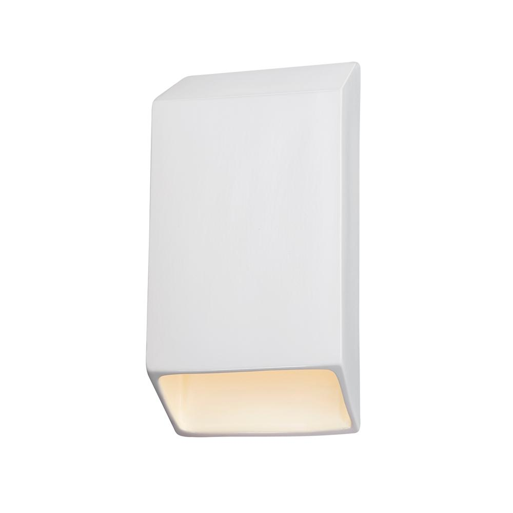 Justice Design Ambiance Tapered Rectangle Gloss White Outdoor Integrated LED Sconce