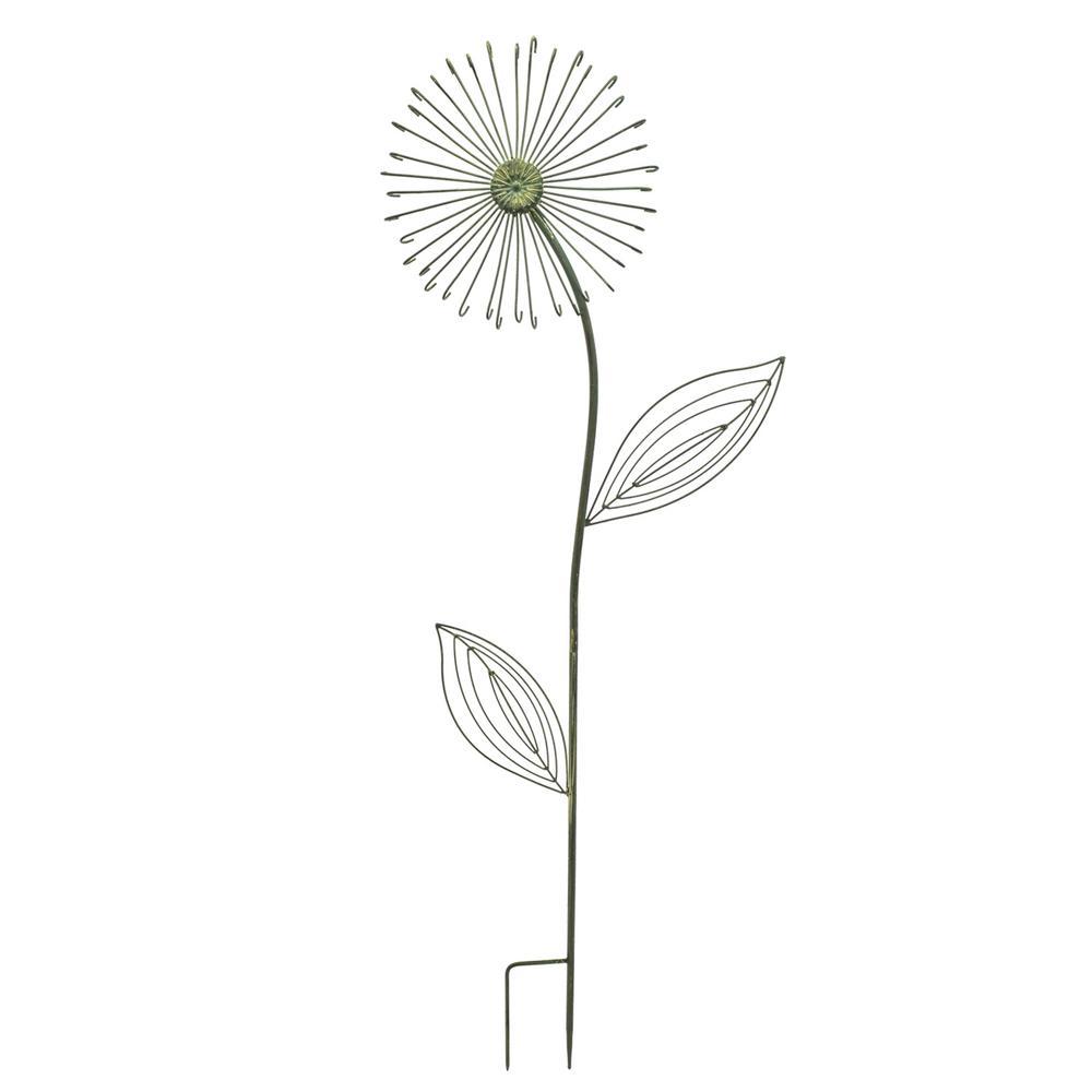 50 in. Forest Green Dandelion Metal Garden Stake