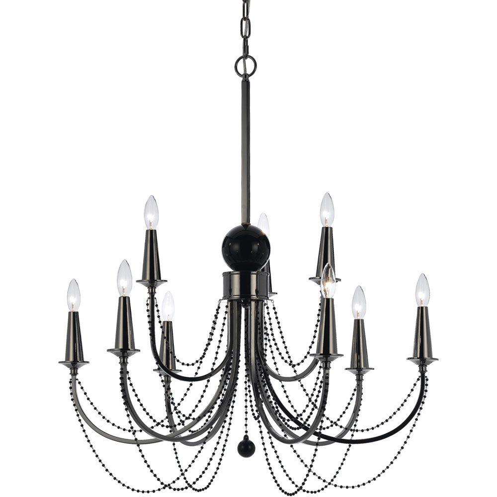 Af lighting 8449 9 light nickel chandelier 8449 9h the home depot af lighting 8449 9 light nickel chandelier arubaitofo Choice Image