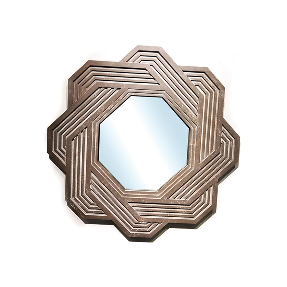 Peterson Artwares Arden Octagon Rusty Decorative Mirror Mr7141 The