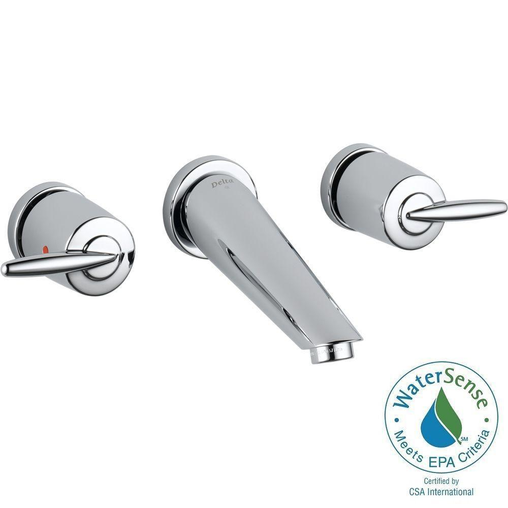 Delta Grail 8 in. Wall-Mount 2-Handle Low-Arc Bathroom Faucet in Chrome