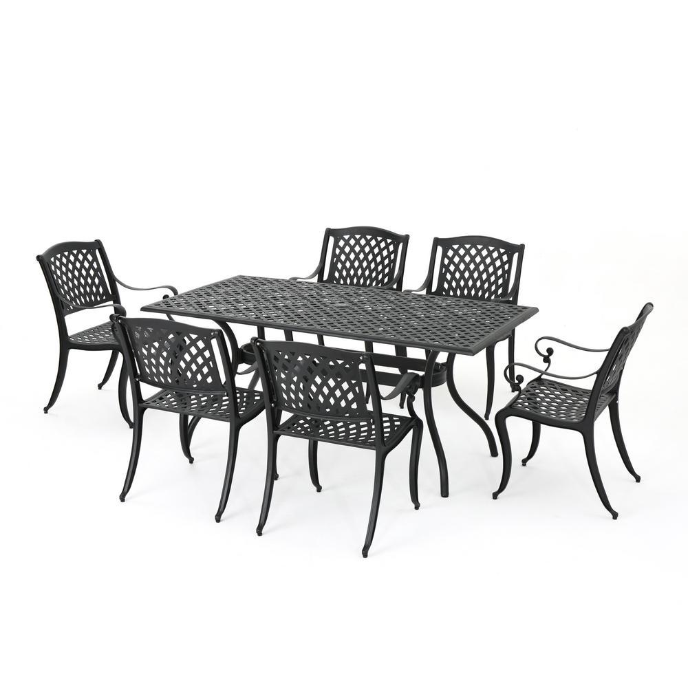 Cayman Black 7-Piece Aluminum Rectangular Outdoor Dining Set