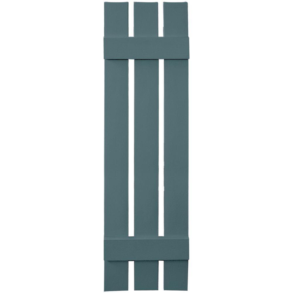 Builders Edge 12 in. x 47 in. Board-N-Batten Shutters Pair, 3 Boards Spaced #004 Wedgewood Blue