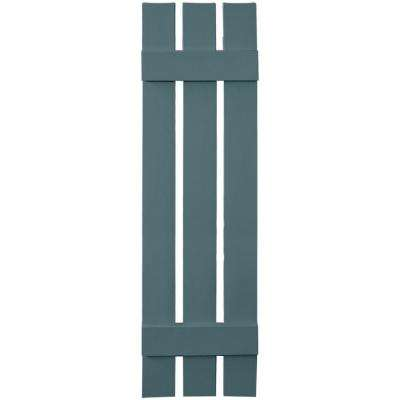 12 in. x 47 in. Board-N-Batten Shutters Pair, 3 Boards Spaced #004 Wedgewood Blue