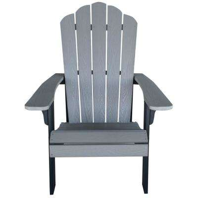 Gray with Black Accents Outdoor 2-Tone Wood Construction with Durable Faux Adirondack Chair
