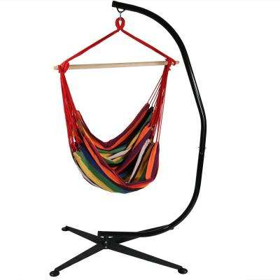 5 ft. Fabric Jumbo Hanging Chair Hammock Swing with Stand in Sunset