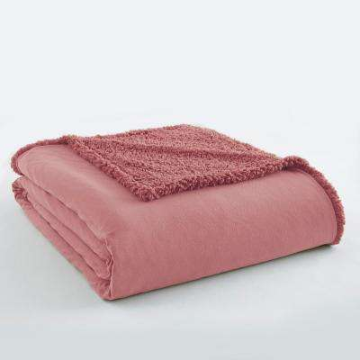 Frosted Rose Sherpa Back Polyester King Blanket