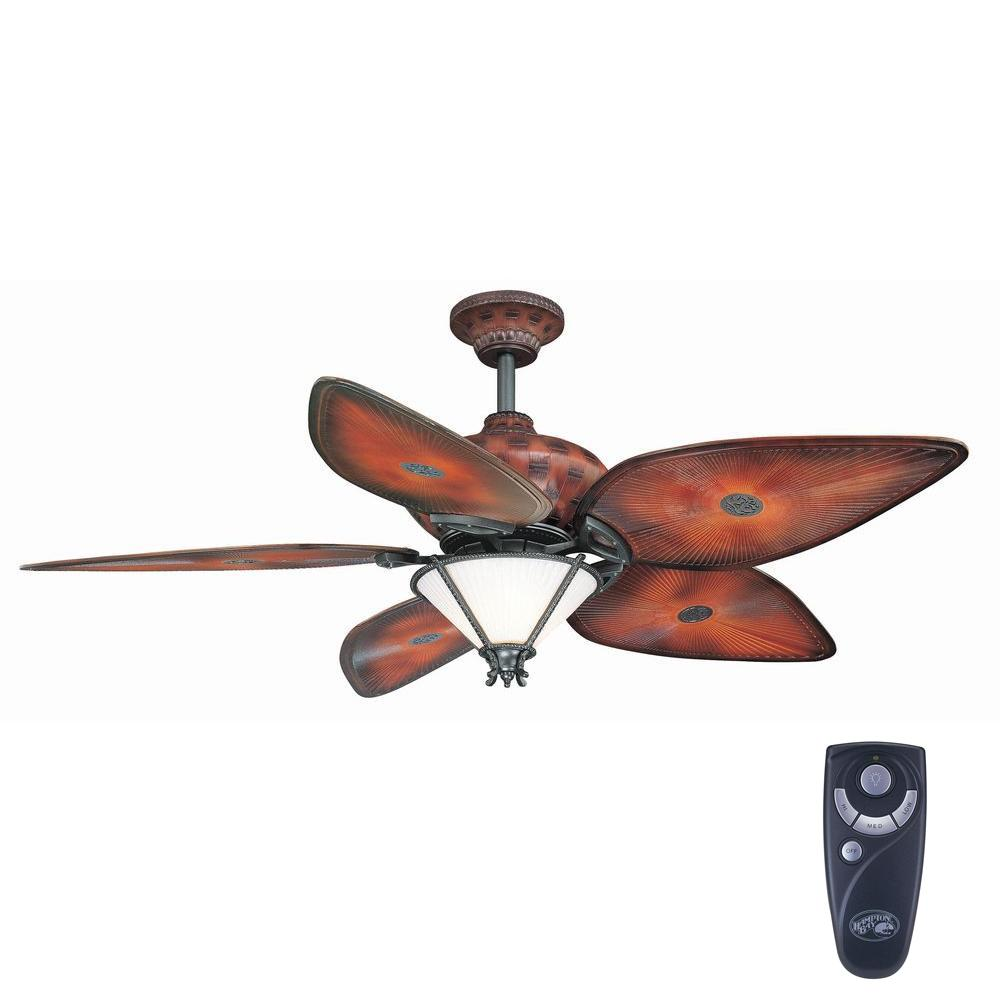 Hampton Bay San Lucas 56 In Indoor Outdoor Natural Iron Ceiling Fan With Light